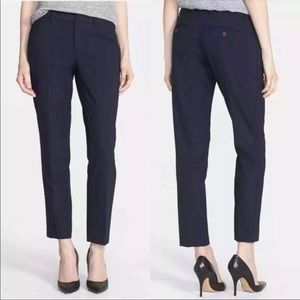 Vince Pants Navy Blue Strapping Wool Blend Ankle